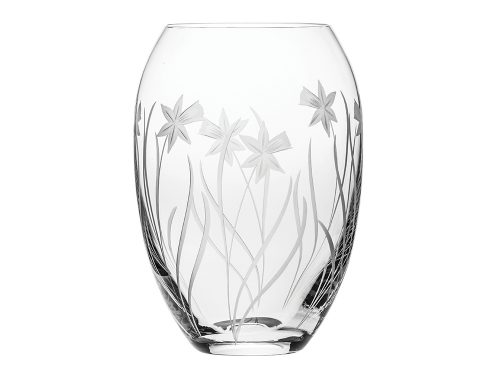 Medium Royal Scot Crystal Daffodil Barrel Vase