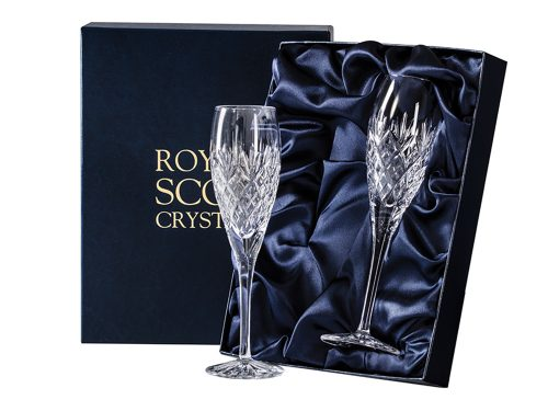 Pair of Royal Scot Crystal Edinburgh Champagne Flutes