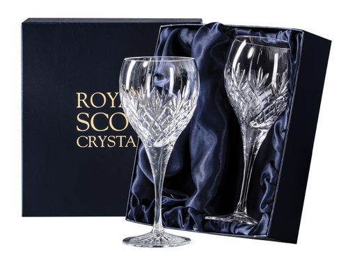 Pair of Large Royal Scot Crystal Edinburgh Wine Glasses