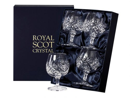Set of 4 Royal Scot Crystal Edinburgh Brandy Glasses