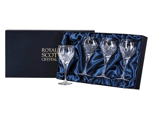 Set of four small royal scot crystal edinburgh wine glasses