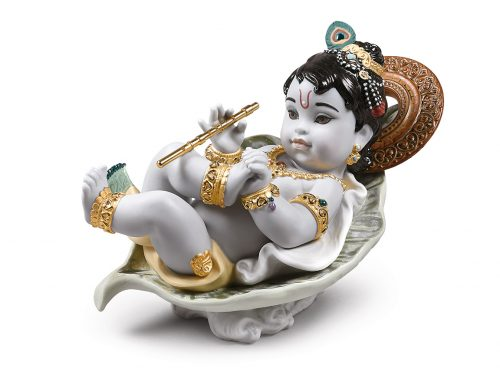 Lladro Porcelain Krishna On Leaf 01009370