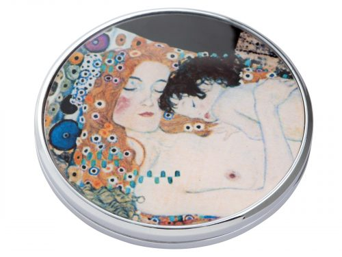 """This beautifully crafted pocket mirror by John Beswick comes with a stunning extract from Gustav Klimt's painting of """"Three Ages of Women"""". Gustav Klimt was an Austrian symbolist painter and one of the most prominent members of the Vienna Secession movement. Size: Diameter: 7 cm - 3"""". By John Beswick. Product Code: M01KL(S)"""