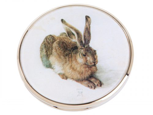 "This beautifully crafted pocket mirror by John Beswick comes with a stunning extract of the painting ""Young Hare"" which was painted in 1502 by the German artist Albrecht Dürer. It is acknowledged as a masterpiece of observational art with almost photographic accuracy. Size: Diameter: 7 cm - 3"