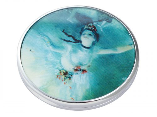 Edgar Degas was a French artist famous for his paintings, sculptures, prints, and drawings. He is especially identified with the subject of dance; more than half of his works depict dancers. This beautifully crafted pocket mirror by John Beswick features an Extract from his