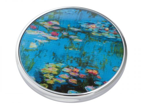 """Water Lillies is a series of approximately 250 oil paintings created by French Impressionist Claude Monet, the paintings depict Monet's Home Garden in Giverny, France. This beautifully crafted pocket mirror by John Beswick features a stunning extract of one of Monet's Water Lilly paintings. Size: Diameter: 7 cm - 3"""". By John Beswick. Product Code: M15MO(S)"""