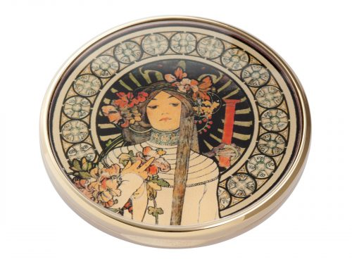 """This beautifully crafted pocket mirror by John Beswick comes with a stunning extract from the French lithograph """"La Trappistine"""" which was created by the Czech artist/Designer Alphonse Mucha. La Trappistine was a liqueur made in Paris, allegedly from a recipe handed down by Trappist monks. Size: Diameter: 7 cm - 3"""". By John Beswick. Product Code: M21MU(G)"""