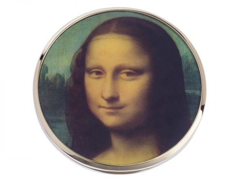 "This beautifully crafted mirror made by John Beswick comes with a stunning extract from Leonardo Da Vinci's ""Mona Lisa"". A half-length portrait painting by the Italian Renaissance artist Leonardo da Vinci that has been described as ""the best known, the most visited, the most written about, the most sung about, the most parodied work of art in the world."" Size: Diameter: 7 cm - 3"". By John Beswick. Product Code: M33DAV(G)"