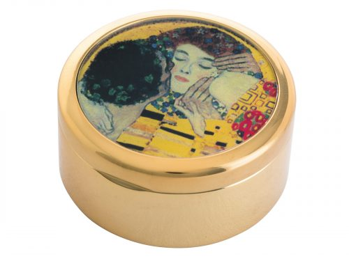 "This beautifully crafted pocket mirror by John Beswick comes with a stunning extract from Gustav Klimt's painting of ""The Kiss"". Gustav Klimt was an Austrian symbolist painter and one of the most prominent members of the Vienna Secession movement. This famous Klimt piece was painted in 1908/9 and depicts a couple embracing, their bodies entwined in elaborate robes decorated with oil paint infused with gold leaf."
