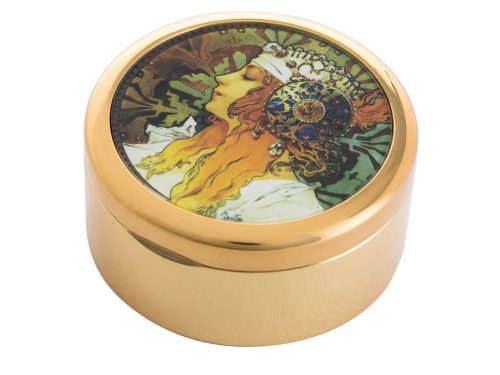 """This beautifully crafted pocket mirror by John Beswick comes with a stunning extract from Alphonse Mucha's """"Byzantines Heads"""", originally a pair (Blonde and Brunnette) this pocket watch shows the head of the Blonde woman who wears a white scarf in her hair embellished with jewels and an ornate metal disk fringed with pearls."""