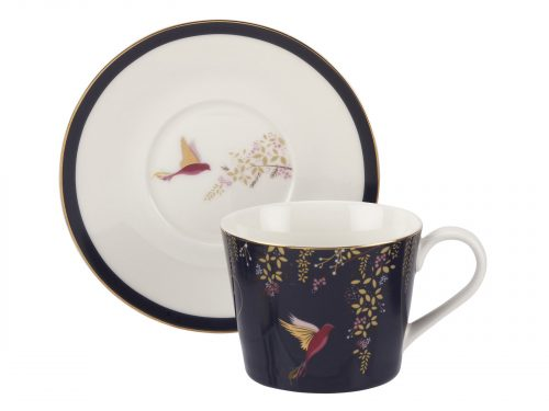 Sara Miller London Chelsea Collection Navy Tea Cup and Saucer