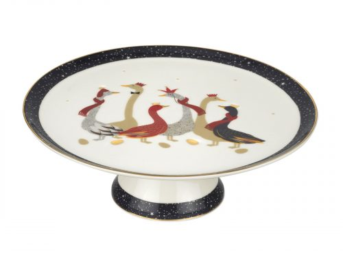 Sara Miller London Geese Christmas Collection Cake Footed Cake Plate