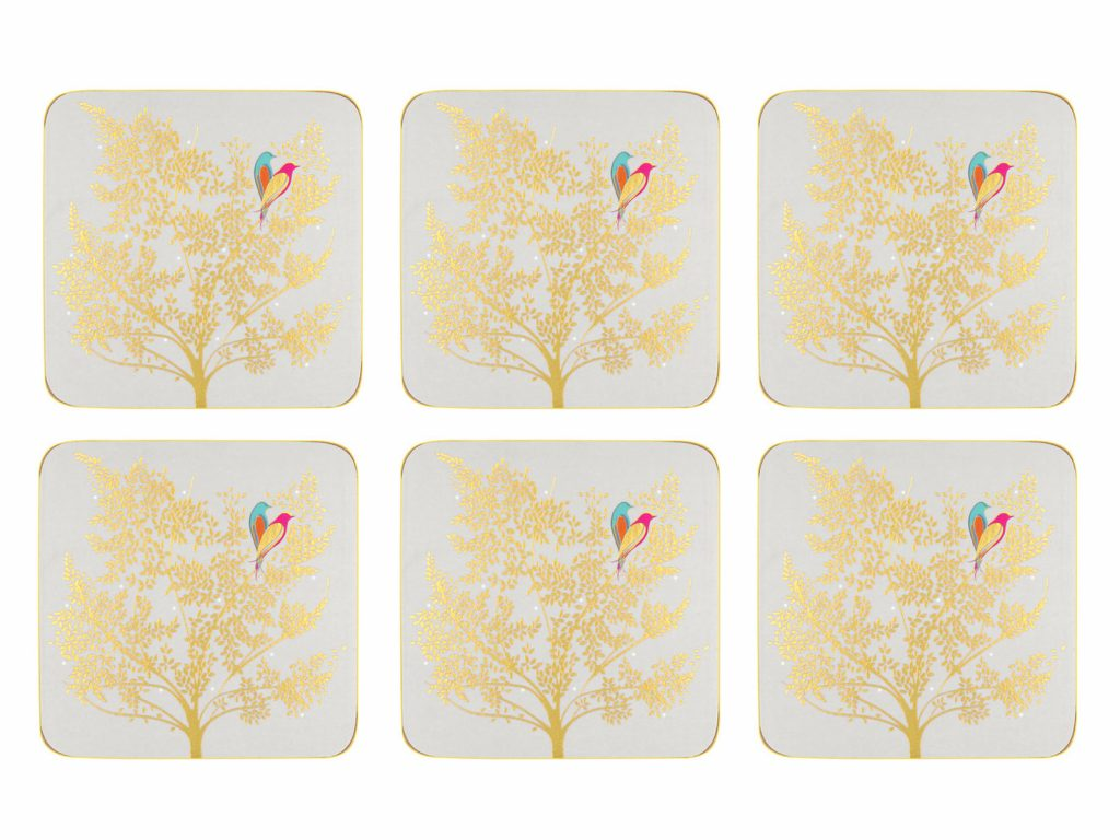 Sara Miller London Chelsea Collection Light Grey Coasters S/6