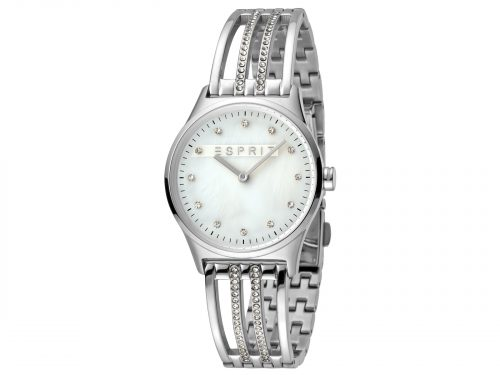 Esprit Stainless Steel and White Stones Watch