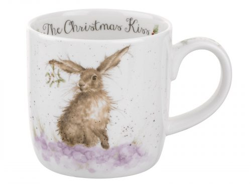 A beautifully intricate illustration of a Hare with mistletoe dangling from their floppy ear, a lovely piece of china for your christmas collection this year. Size: 0.31L - 11fl.oz. By: Wrendale. Product Code: MMMD5629-XT.