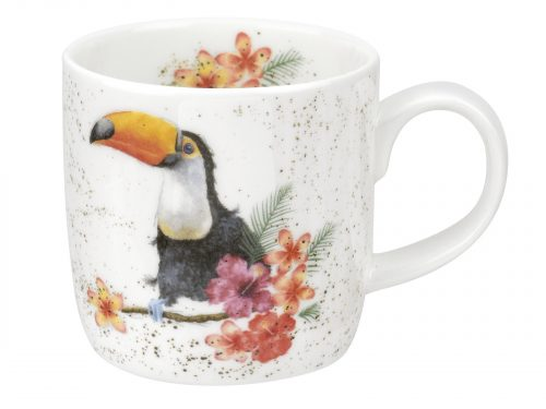 This mug comes with a lovely vibrant and colourful design, with a beautiful Toucan perched on a branch amidst an array of exotic flowers. Size: 0.31L - 11fl.oz. By: Wrendale. Product Code: MMMY5629-XT.