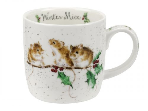 Three gorgeous little Mice perching on a colourful holly branch. This beautiful illustration makes this mug a lovely addition to your cupboards this Christmas. Size: 0.31L - 11fl.oz.. By: Wrendale. Product Code: MMMZ5629-XT.