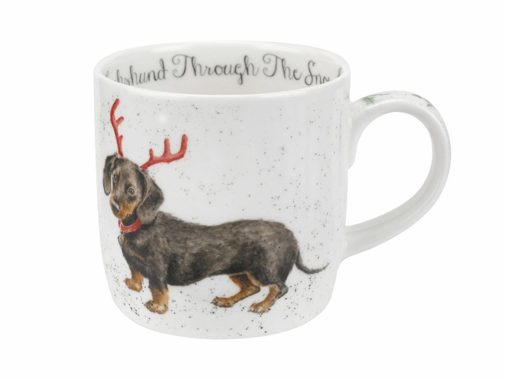 This Mug features a gorgeous illustration of a Dachshund in the snow sporting an adorable set of Antlers, this would be a cute addition to your Christmas china. Size: 0.31L - 11fl.oz. By: Wrendale. Product Code: MMOC5629-XT.
