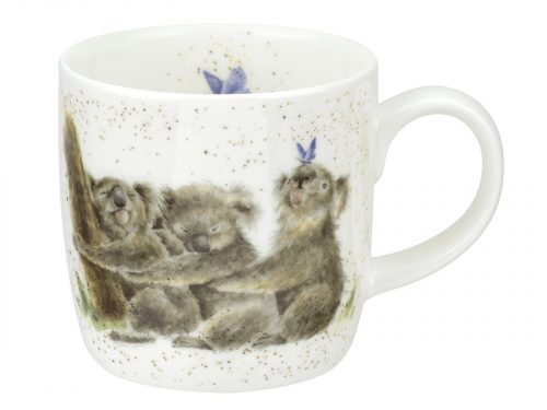 The cute illustration on this mug is of three adorable koala bears lined up hugging eachother while a delicate blue butterfly lands on and tickles one of their noses. Would make an amazing gift for any animal or koala bear lovers. Size: 0.31L - 11fl.oz. By: Wrendale. Product Code: MMOD5629-XT.