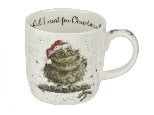This Mug features an illustration of a large fluffy owl sporting a lovely bright Santas Hat. This mug would make a lovely addition to your kitchen this Christmas. Size: 0.31L - 11fl.oz. By: Wrendale. Product Code: WNOX5629-XT.