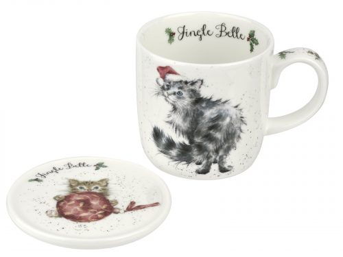 This Mug features a lovely illustration of Cat wearing a Christmas hat, its accompanying Coaster has a cute little kitten playing with a big red bauble. Perfect Christmas Mug for your perfect Christmas Brew. Size: Mug 0.31L Coaster 9.5cm - Mug 11fl.oz. Coaster 3.75