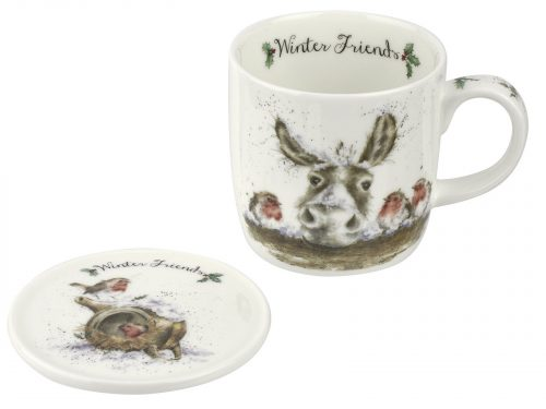 This Christmas Mug features a beautiful illustration of a Donkey and hi three friends, all together over Christmas. A beautiful addition to your kitchen this Christmas. Size: Mug 0.31L Coaster 9.5cm - Mug 11fl.oz. Coaster 3.75