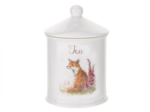 "This Coffee Canister is decorated with a beautiful Fox sitting next to Red Foxgloves. With its beautiful simplistic design, it's a perfect gift for any animal lover. Size: 10cm Diameter 14.5cm Height - 4"" Diameter 5.75"" Height By: Wrendale. Product Code: WNT3996-XW."