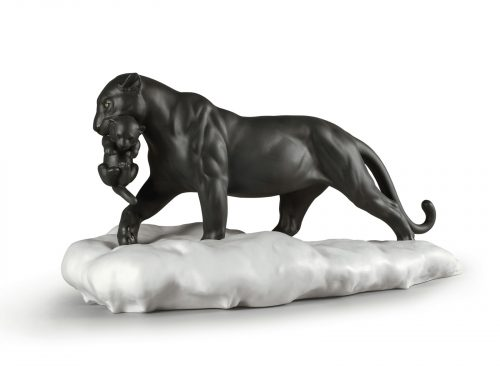 Lladro Black Panther With Cub