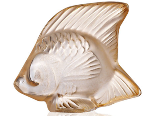 Lalique Crystal Seal Fish Gold Luster