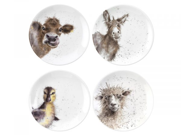 Royal Worcester Wrendale Coupe Plates - Donkey, Duckling, Cow, Sheep (Set of 4)