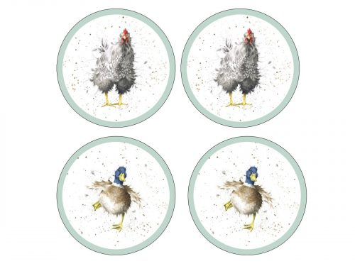 Royal Worcester Wrendale Coasters - Farmyard Feathers (Set of 4)