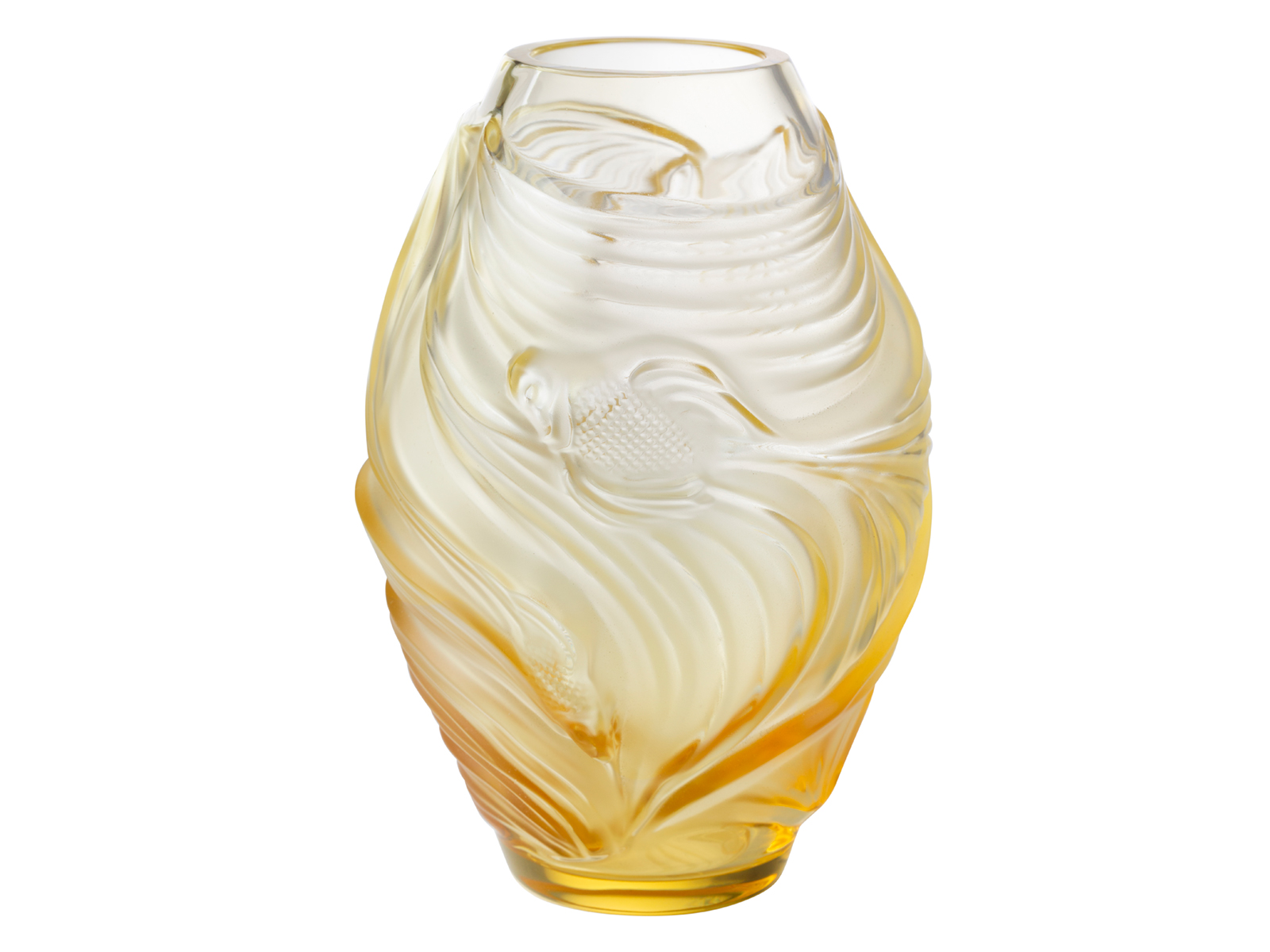 Amber Berger Nude lalique poissons combattants vase - amber / small