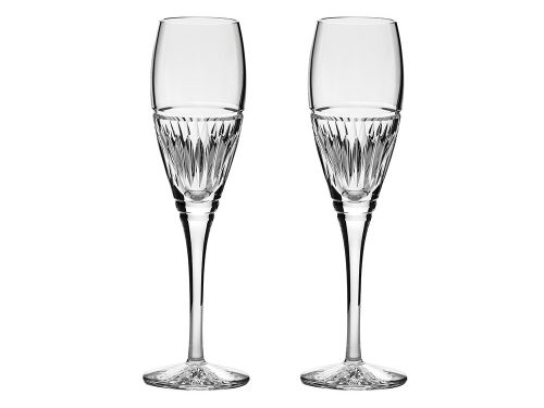 Pair of Royal Scot Crystal Art Deco Champagne Flutes