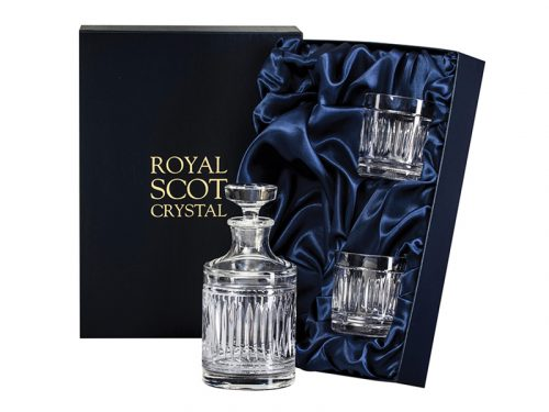 Round Royal Scot Crystal Art Deco Decanter and Whisky Tumblers
