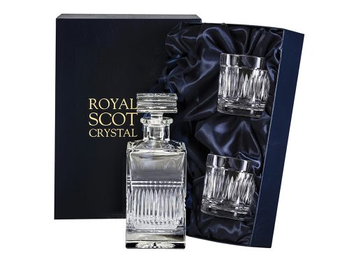 Square Royal Scot Crystal Art Deco Decanter and Whisky Glasses
