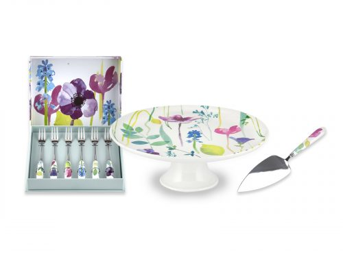 Portmeirion Water Garden Bundle - Cake Stand & Slice with Pastry Forks