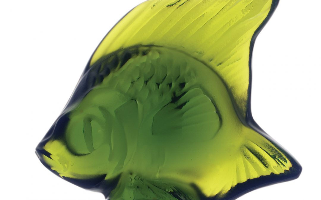 Lalique Fish Seal – Lime Green